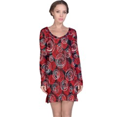 Red abstract decor Long Sleeve Nightdress