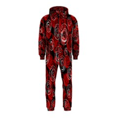 Red abstract decor Hooded Jumpsuit (Kids)