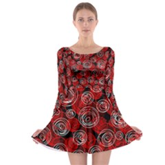 Red abstract decor Long Sleeve Skater Dress