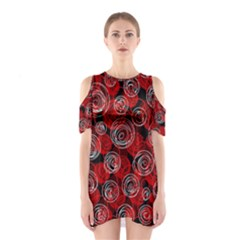 Red abstract decor Cutout Shoulder Dress