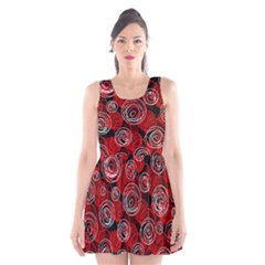 Red abstract decor Scoop Neck Skater Dress