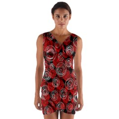 Red abstract decor Wrap Front Bodycon Dress