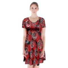 Red abstract decor Short Sleeve V-neck Flare Dress