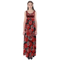 Red abstract decor Empire Waist Maxi Dress