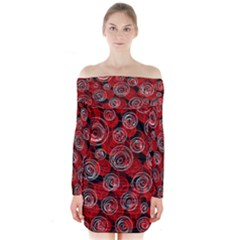Red abstract decor Long Sleeve Off Shoulder Dress