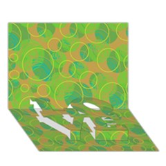 Green decorative art LOVE Bottom 3D Greeting Card (7x5)