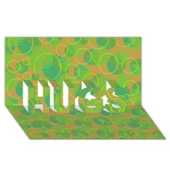 Green decorative art HUGS 3D Greeting Card (8x4)