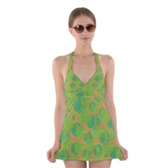 Green decorative art Halter Swimsuit Dress