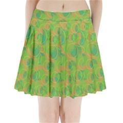 Green decorative art Pleated Mini Skirt