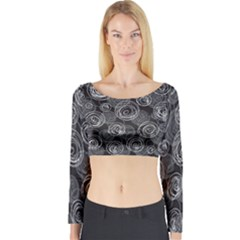 Gray abstract art Long Sleeve Crop Top