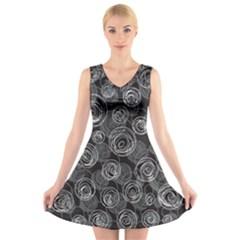 Gray abstract art V-Neck Sleeveless Skater Dress