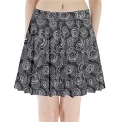 Gray Abstract Art Pleated Mini Skirt