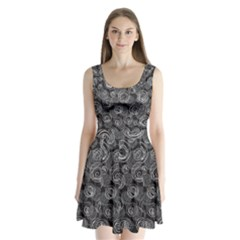 Gray abstract art Split Back Mini Dress