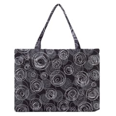 Gray Abstract Art Medium Zipper Tote Bag