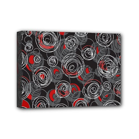 Red and gray abstract art Mini Canvas 7  x 5