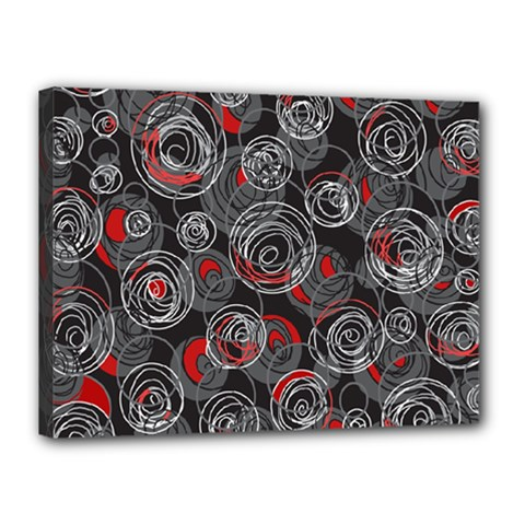 Red and gray abstract art Canvas 16  x 12