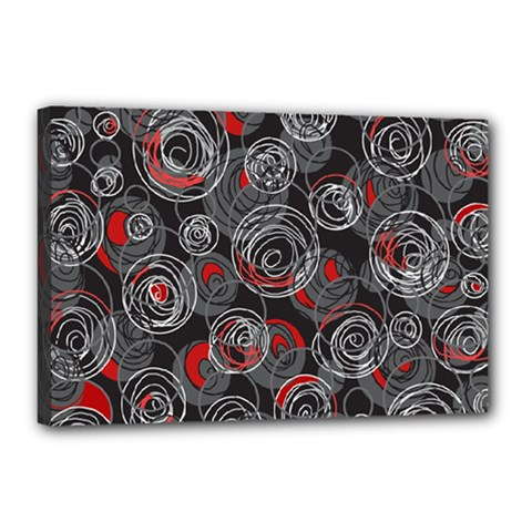 Red and gray abstract art Canvas 18  x 12