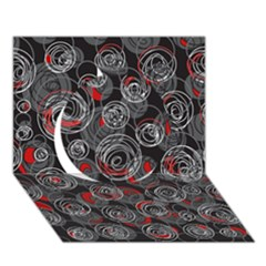 Red and gray abstract art Circle 3D Greeting Card (7x5)