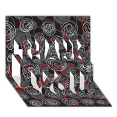 Red and gray abstract art THANK YOU 3D Greeting Card (7x5)