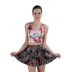 Red and gray abstract art Mini Skirt