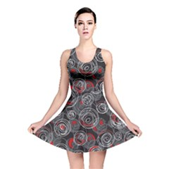 Red and gray abstract art Reversible Skater Dress