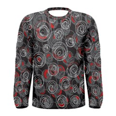 Red and gray abstract art Men s Long Sleeve Tee