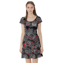 Red and gray abstract art Short Sleeve Skater Dress