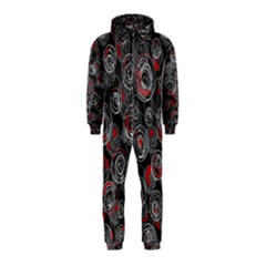 Red and gray abstract art Hooded Jumpsuit (Kids)
