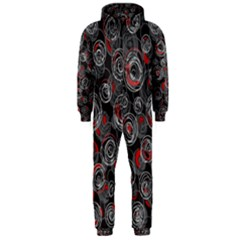 Red and gray abstract art Hooded Jumpsuit (Men)
