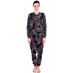 Red and gray abstract art OnePiece Jumpsuit (Ladies)