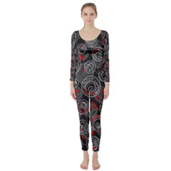 Red and gray abstract art Long Sleeve Catsuit