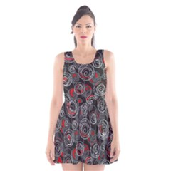 Red and gray abstract art Scoop Neck Skater Dress