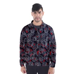 Red and gray abstract art Wind Breaker (Men)