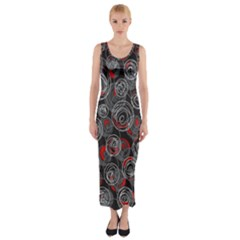Red and gray abstract art Fitted Maxi Dress