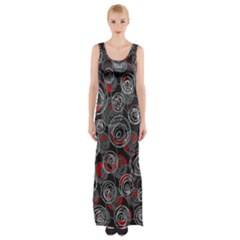 Red and gray abstract art Maxi Thigh Split Dress