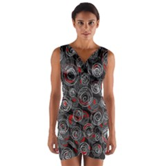 Red and gray abstract art Wrap Front Bodycon Dress