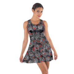 Red and gray abstract art Cotton Racerback Dress