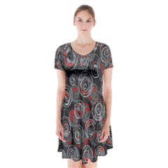 Red and gray abstract art Short Sleeve V-neck Flare Dress