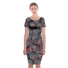 Red and gray abstract art Classic Short Sleeve Midi Dress
