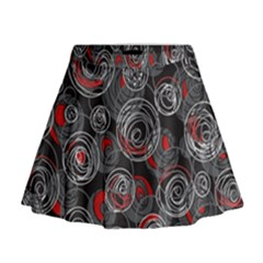 Red and gray abstract art Mini Flare Skirt