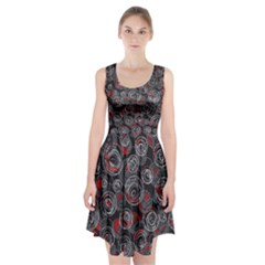 Red and gray abstract art Racerback Midi Dress