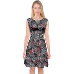 Red And Gray Abstract Art Capsleeve Midi Dress