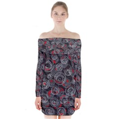 Red And Gray Abstract Art Long Sleeve Off Shoulder Dress