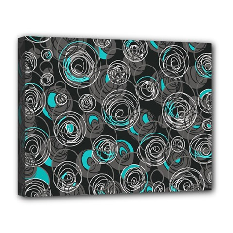 Gray and blue abstract art Canvas 14  x 11