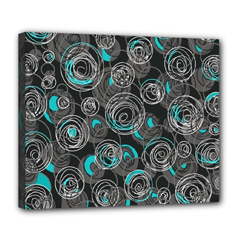 Gray and blue abstract art Deluxe Canvas 24  x 20
