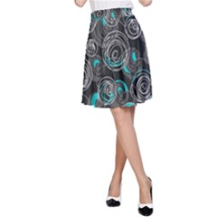 Gray and blue abstract art A-Line Skirt