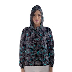 Gray and blue abstract art Hooded Wind Breaker (Women)
