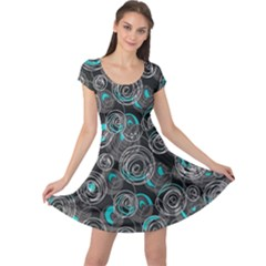 Gray and blue abstract art Cap Sleeve Dresses