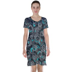 Gray and blue abstract art Short Sleeve Nightdress