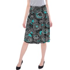 Gray and blue abstract art Midi Beach Skirt